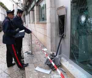 Il Bancomat fatto esplodere dai malviventi