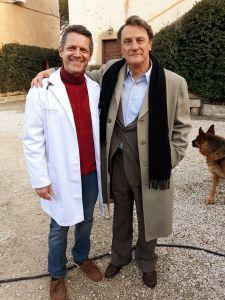 Da sinistra: Nicola Losapio e Giorgio Tirabassi sul set della fiction dedicata a Libero Grassi.